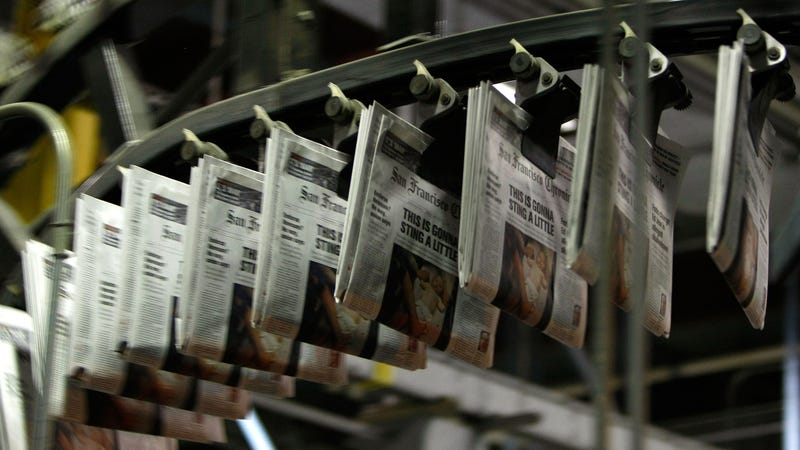 Freshly printed copies of the San Francisco Chronicle roll off the printing press at one of the Chronicle's printing facilities September 20, 2007 in San Francisco, California