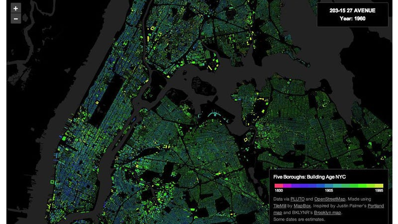 Illustration for article titled The Exact Age of Almost Every Building in NYC, in One Map