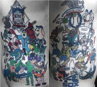 Illustration for article titled This MLB Fan Cave Candidate Has Tattoos Of All 30 Mascots