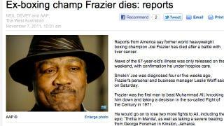 Illustration for article titled Joe Frazier Is Not Dead Yet, Despite One Australian Paper Desperate For A Scoop