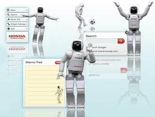 Illustration for article titled Note-Taking, Soccer-Playing Honda Asimo Desktop Widget