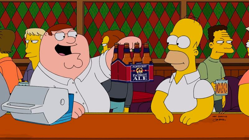 Illustration for article titled Let's all register our feelings about the Simpsons/Family Guy crossover in real time