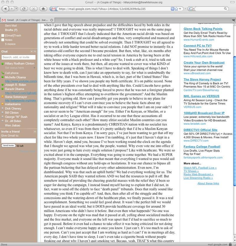 Illustration for article titled Inside Obama Rambling Email