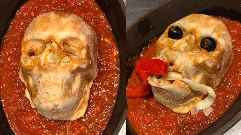 Illustration for article titled Behold the Skull Calzone, 2018's best novelty Halloween foodstuff