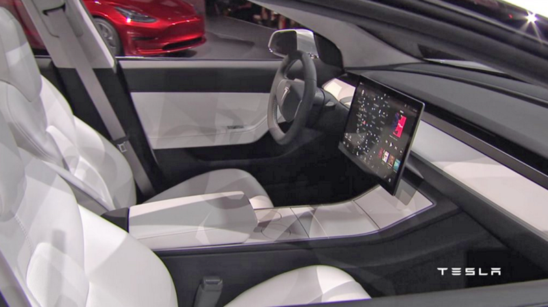 Illustration for article titled Inside The Tesla Model 3 Prototype's Super-Minimalist Interior