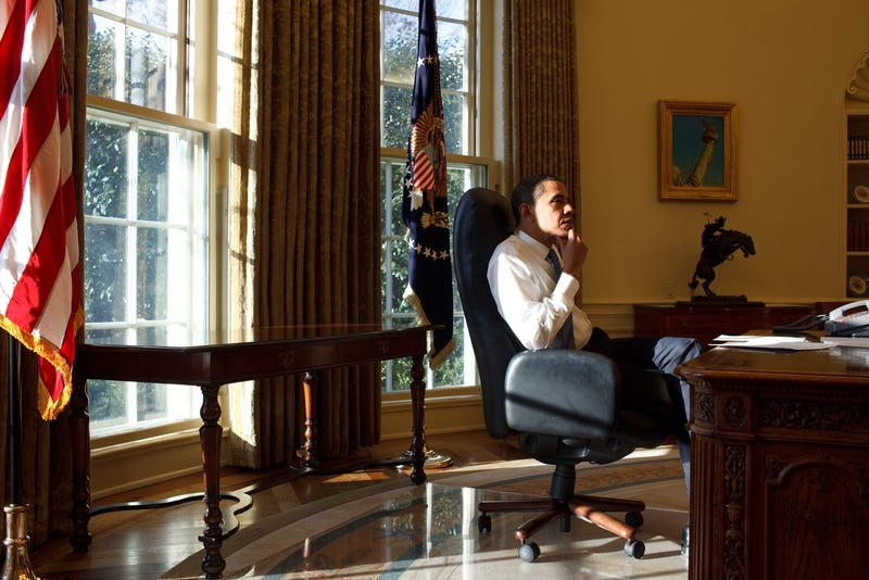 President Obama on his first day in the Oval Office, January 21, 2009
