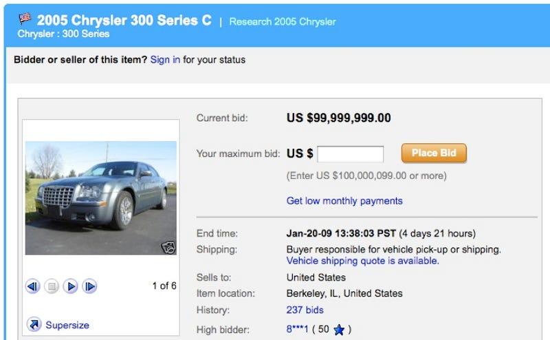 Illustration for article titled Barack Obama's Chrysler 300C Auction Getting Scammed On EBay