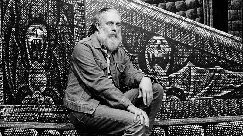 Edward Gorey photographed in September 1977 on the set he designed for the Broadway production of Dracula.