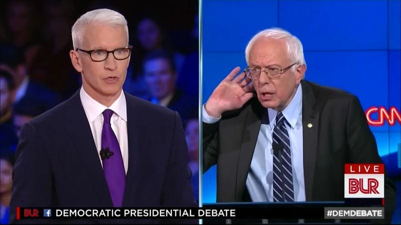 Illustration for article titled Democratic debate gets Bad Lip Reading treatment, reveals Sanders' love of beans