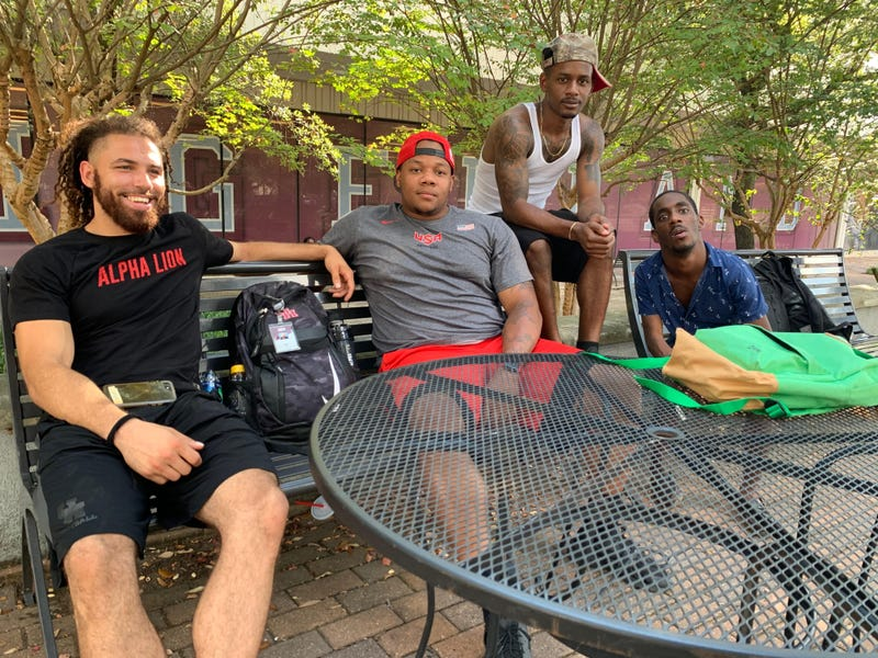 (L-R) Dominique James, Michael Young, Jr., Lenny Pradia and Akeem Fountenot on the campus of Texas Southern University on Wednesday, September 11.