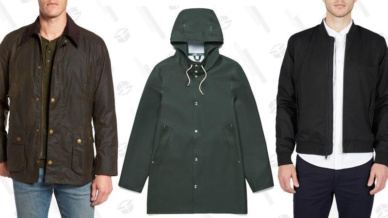 Barbour Ashby Wax Jacket | Stutterheim Stockholm Basic Raincoat | Everlane Cotton Bomber Jacket