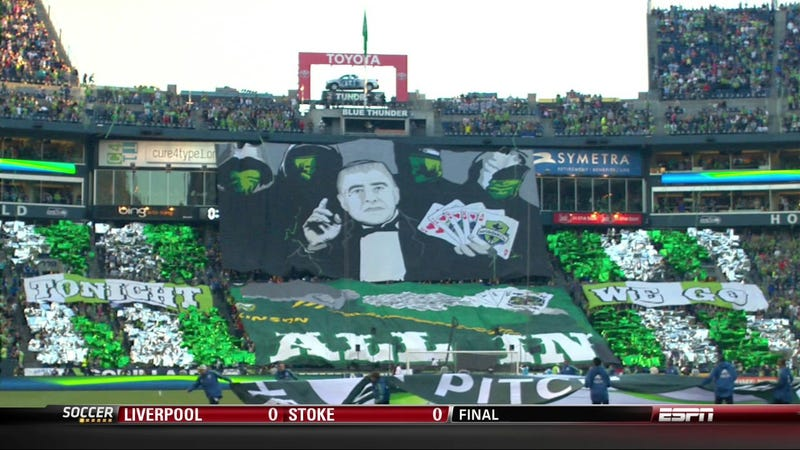 Illustration for article titled Last Night's Massive Sounders-Timbers Match Featured A Tifo Worthy Of The Occasion