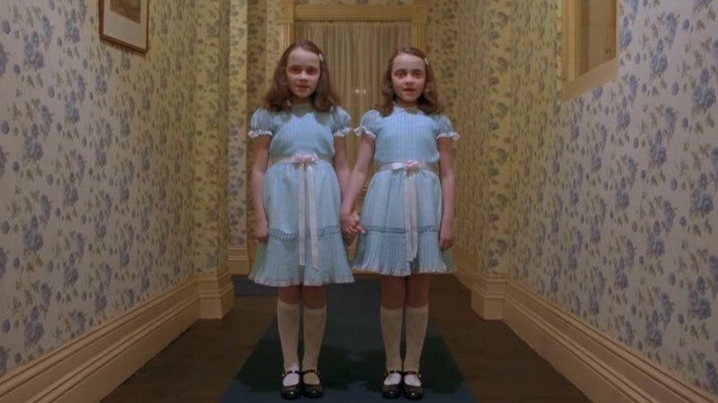 A still from The Shining. Not all twins are this creepy. Just most.