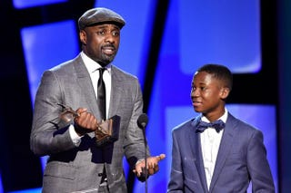 Idris Elba, accepting the award for Best Supporting Male for Beasts of No Nation, and actor Abraham Attah, who would later win Best Male Lead, during the Film Independent Spirit Awards on Feb. 27, 2016, in Santa Monica, Calif.Kevork Djansezian/Getty Images