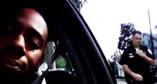 Dana Harris Jr., is approached by Providence, R.I., Officer Brian MurphyYouTube screenshot