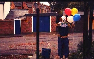 Illustration for article titled Terrifying clown stalks the streets of Northampton, England