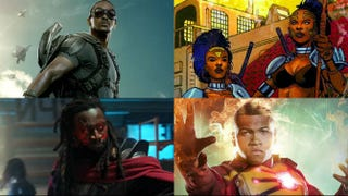 Top row: Falcon; Dora Milaje. Bottom row: Bishop; Firestorm.Top row: Marvel Studios; Marvel Comics. Bottom row: YouTube screenshot; the CW.