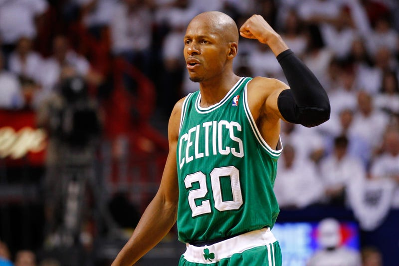 Ray Allen, then No. 20 of the Boston Celtics, during the Eastern Conference finals of the NBA playoffs on June 5, 2012, at American Airlines Arena in Miami (Mike Ehrmann/Getty Images)