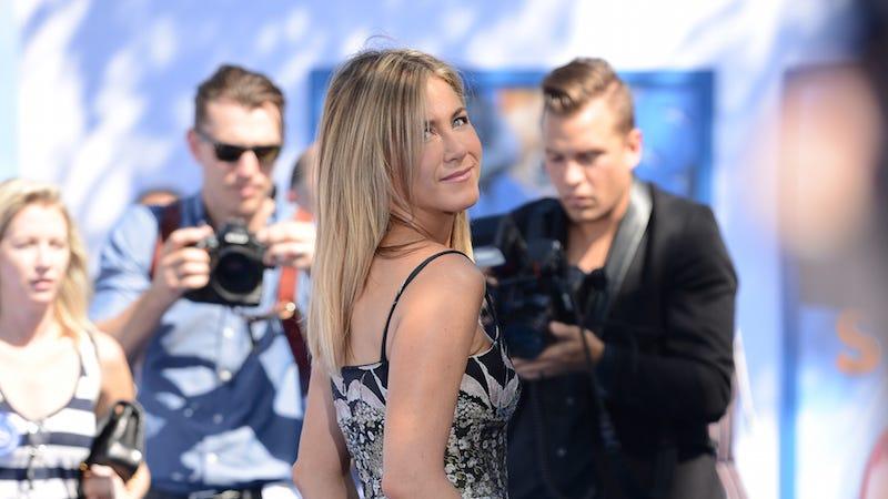 Photo of a totally fine Jennifer Aniston via AP