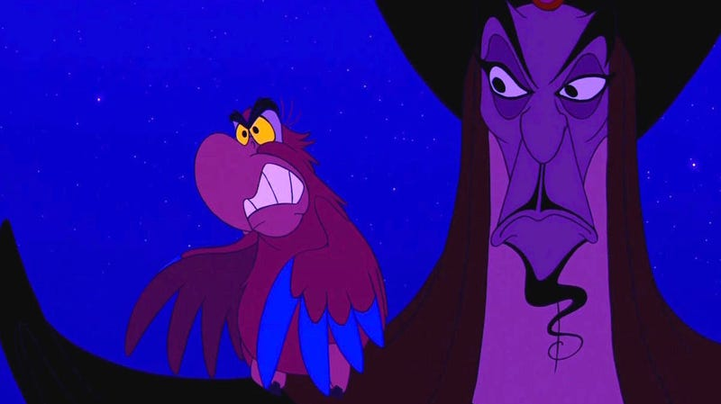 The animated Iago and Jafar having a moment.