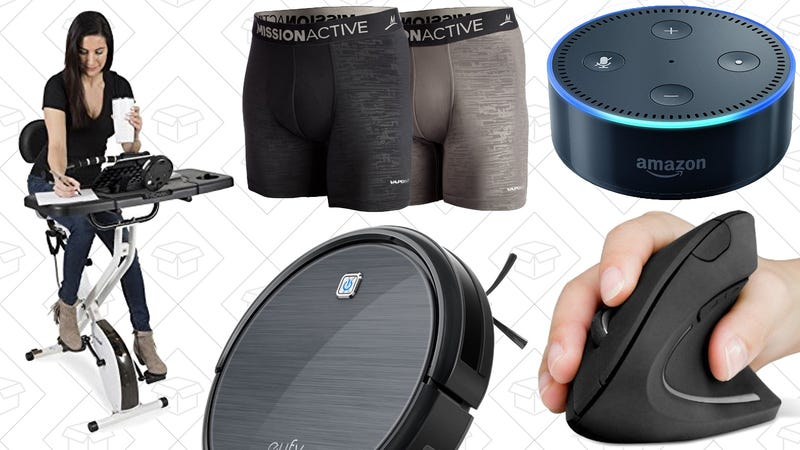 Illustration for article titled Today's Best Deals: Anker Robotic Vacuum, FitDesk 3.0, Activewear Sale, and More