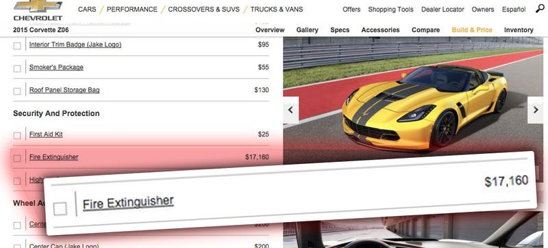 Illustration for article titled It'll Cost You $17,000 To Add A Fire Extinguisher To Your Corvette Z06