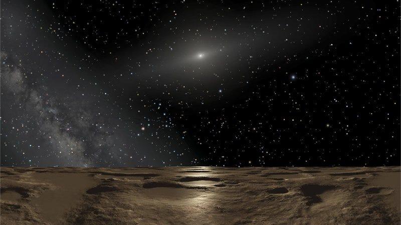 Ilustración de Plutón y el Sol vistos desde la superficie de uno de los planetas enanos del Cinturón de Kuiper.