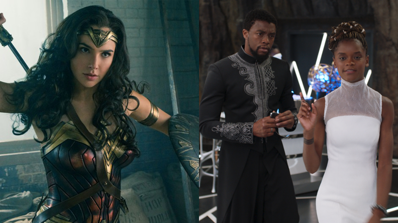 Gal Gadot readies for battle in Wonder Woman, while Chadwick Boseman's T'Challa and Letitia Wright's Shuri discuss tech in Black Panther.