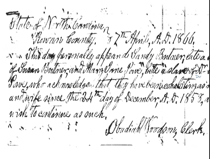 Document formalizing marriage of Sandy Butner and Mary Jane Powe in 1866 (courtesy of Latanya Mclain)