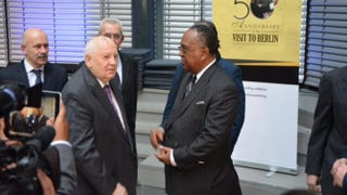 Former Soviet President Mikhail Gorbachev and Southern Christian Leadership Conference President Charles SteeleCOURTESY OF THE SCLC