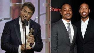 Sylvester Stallone accepts the award for best supporting actor during the 73rd Annual Golden Globe Awards on Jan. 10, 2016; Creed director Ryan Coogler and actor Michael B. JordanHandout; Michael Buckner/Getty Images