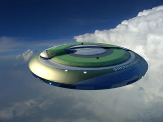 Illustration for article titled Green Airways Flying Saucer Plane Design