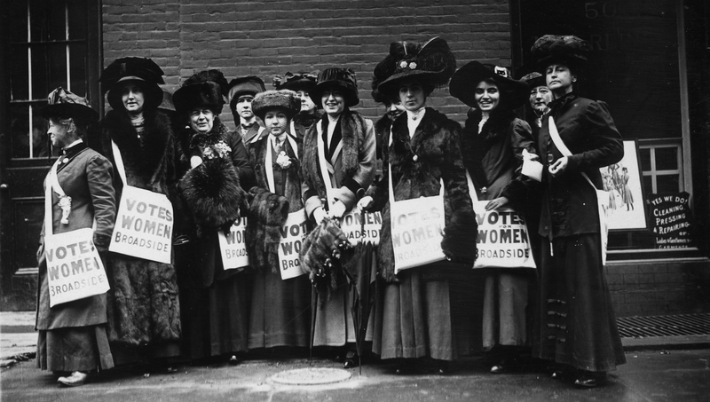 A band of 'news girls' of the Women's Suffrage Movement prepare to invade New York's Wall Street, armed with leaflets and slogans demanding votes for women. All images via Getty.