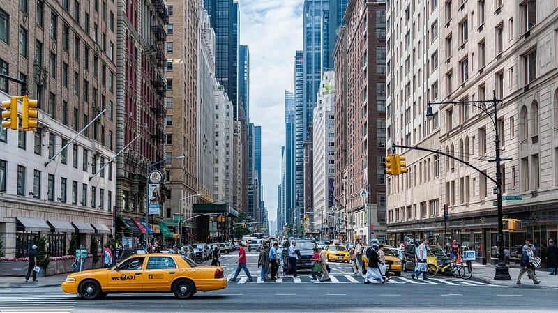 A busy street in Manhattan.