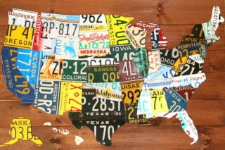Map Of USA Made of States' License Plates Made Out Of License Plates Map on map wall decor metal art, map made of books, map white on white art, map made of tools, map of united states license, map made of paper, map made of flowers, map made of buttons,