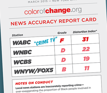 "Graphic from the ""Not to Be Trusted: Dangerous Levels of Inaccuracy in TV Crime Reporting in NYC"" press release issued by ColorOfChange.org in March 2015. ColorOfChange.org"