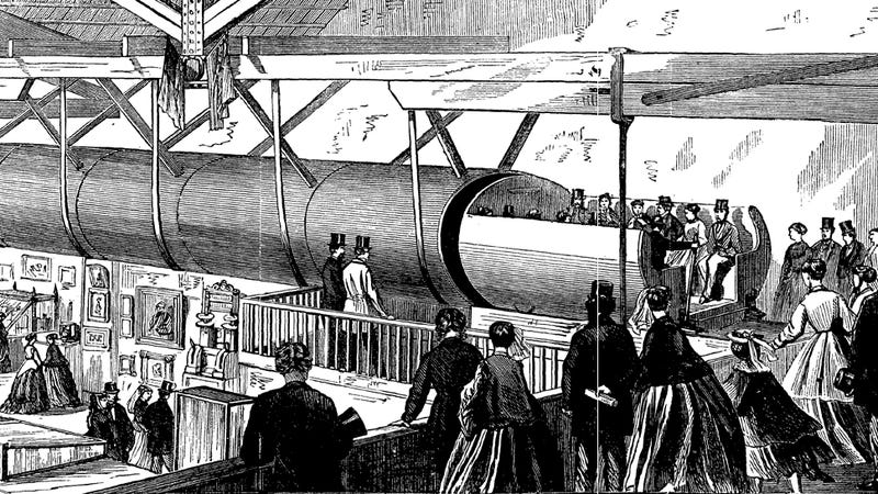Illustration for article titled How One Inventor Secretly Built a Pneumatic Subway Under NYC