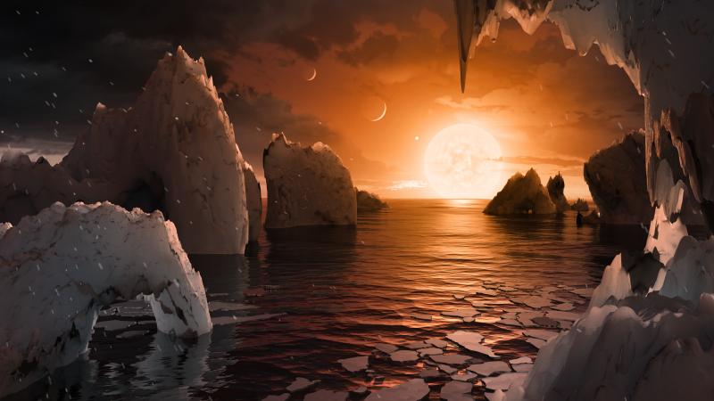 Un dibujo artístico de la superficie de TRAPPIST-1f, un planeta parecido a la Tierra en el sistema TRAPPIST-1. Imagen: NASA/JPL-Caltech