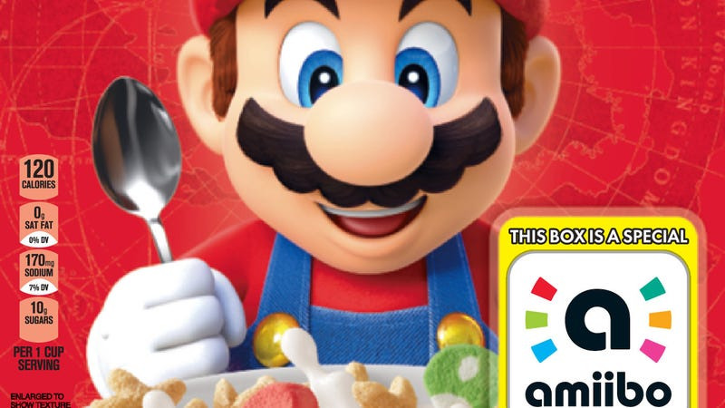 Illustration for article titled There's An Amiibo On Every Box Of Super Mario Cereal