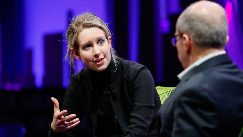 Elizabeth Holmes (L) and Alan Murray speak at the Fortune Global Forum at the Fairmont Hotel on November 2, 2015 in San Francisco, California.