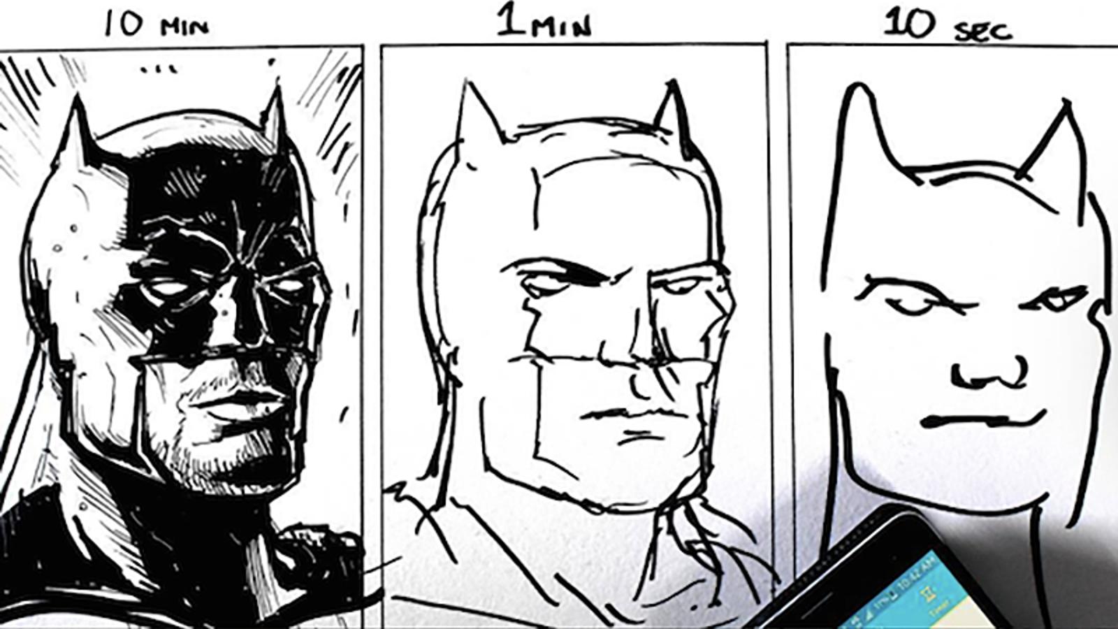 Tres artistas aceptan el reto de dibujar el mismo motivo en 10 minutos, un minuto y 10 segundos