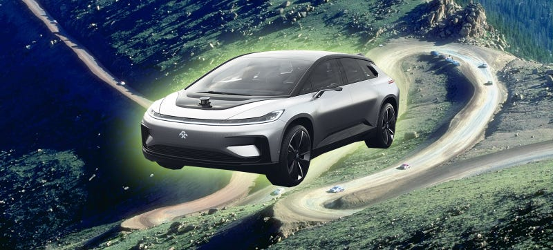 Photo Credit: Faraday Future (FF 91), Getty Images (Pikes Peak course)