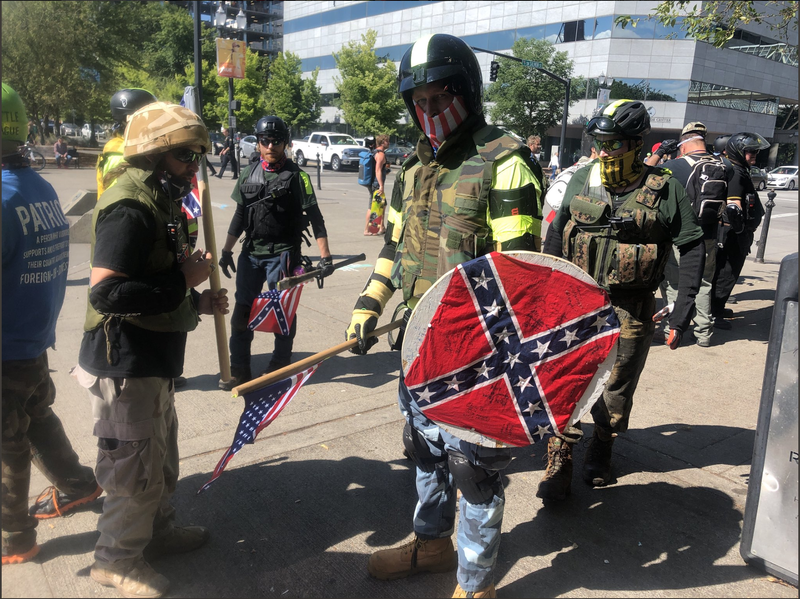Members of the Patriot Prayer group at the rally in Portland, Ore., on Aug. 4