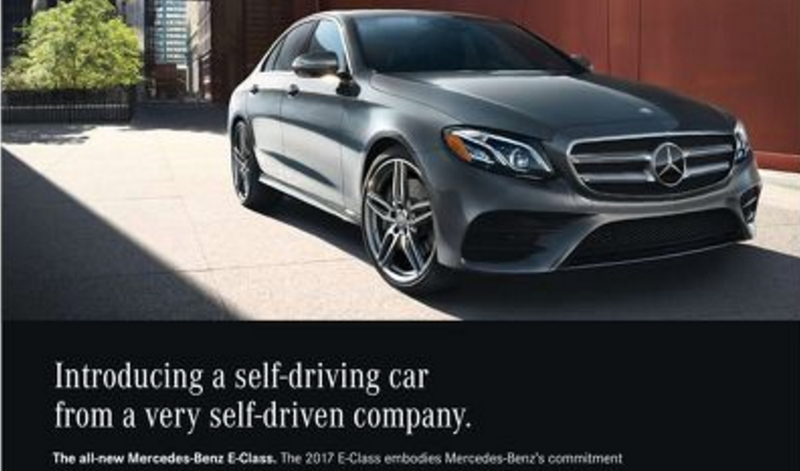 mercedes 'self-driven' advertisement doesn't feature a self-driving