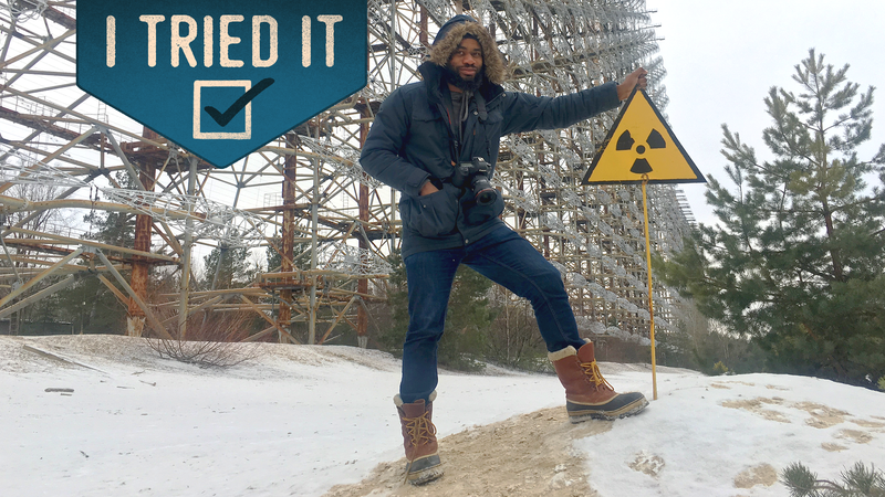 Me standing next to the Duga radar, which was one of the USSR's early-warning ballistic missile systems (Terrell Jermaine Starr/The Root); photo illustration by GMG