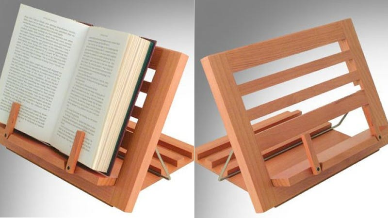 Illustration for article titled A Beautiful Wooden Book Rest for Old School Readers