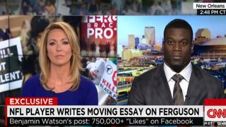 CNN host Brooke Baldwin interviews New Orleans Saints player Benjamin Watson.CNN SCREENSHOT