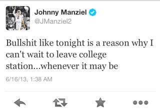 Illustration for article titled Johnny Manziel Sounds Unhappy At Texas A&M