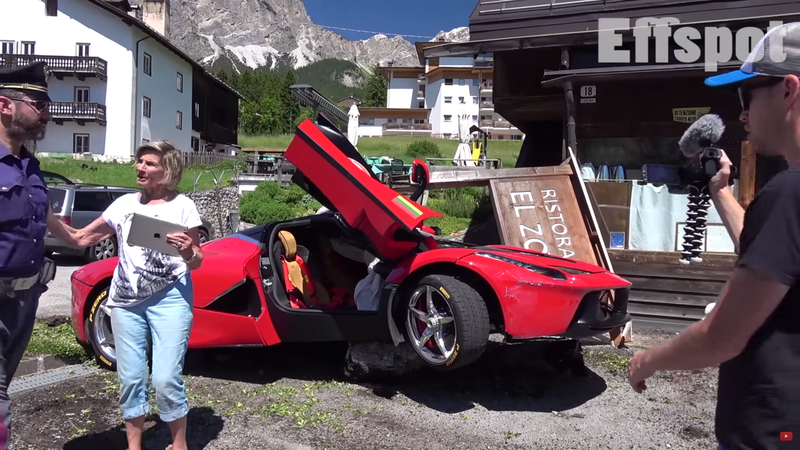 Illustration for article titled How The Hell Did This $1.5 Million LaFerrari Crash-land On A Boulder?