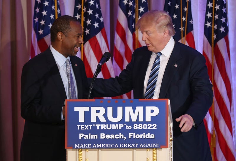 Ben Carson offers his endorsement of Donald Trump's campaign for president at Trump's Mar-a-Lago Club in Palm Beach, Fla., on March 11, 2016. Joe Raedle/Getty Images
